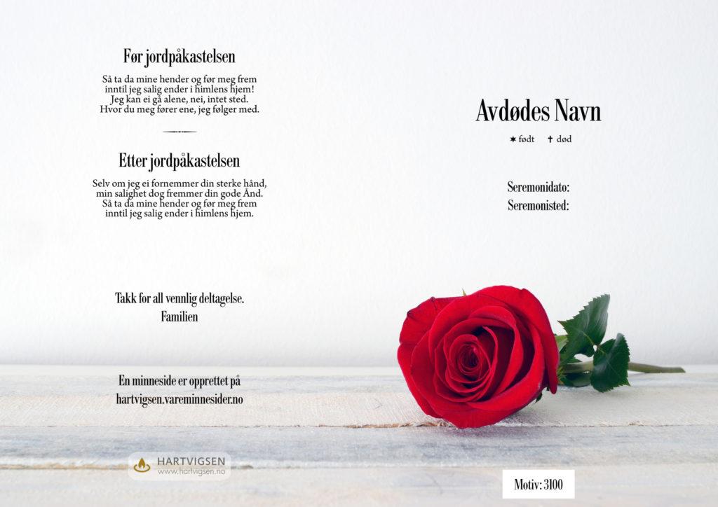 3100 Rød rose [22211]